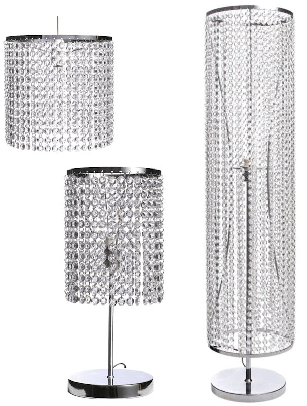 Matching Lamps Chrome Crystal Effect Silver Table Floor